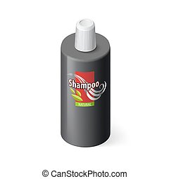 Shampoo Icon - Single Black Bottle of Shampoo with Lable