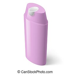 Shampoo Icon - Single Magenta Isometric Bottle of Shampoo on...