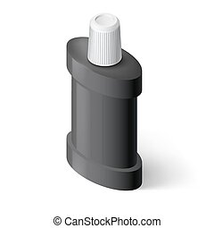 Mouthwash - Black Isometric Bottle of Mouthwash Illustration...