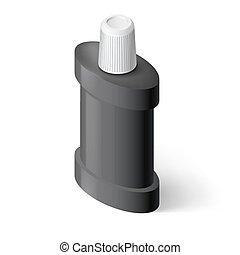 Mouthwash - Black Isometric Bottle of Mouthwash....