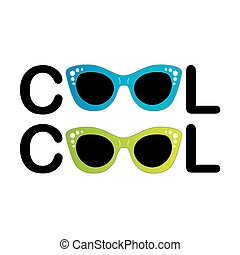 Text cool with vintage glasses as letter O