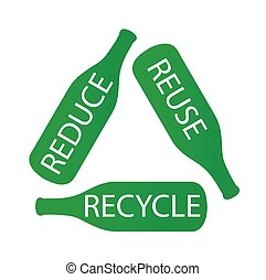 Bottles forming the recycle icon