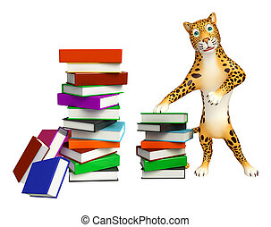 fun Leopard cartoon character with book - 3d rendered...