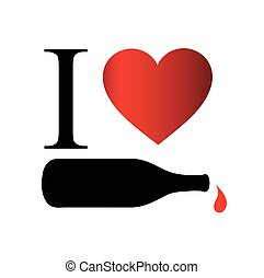 I love wine- a bottle with wine droplet