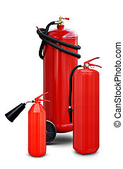 Fire extinguishers of various sizes - Fire extinguishers of...