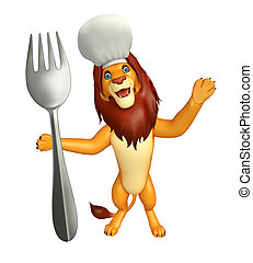 fun Lion cartoon character with chef hat and spoon - 3d...