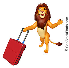 Lion cartoon character with travel bag - 3d rendered...