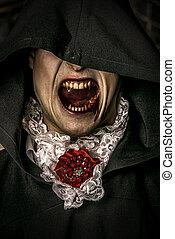 vampire grins - Bloodthirsty vampire grins. Halloween.