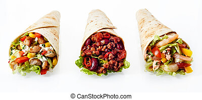 Trio of Tex Mex Fajita Wraps with Various Fillings - Close...