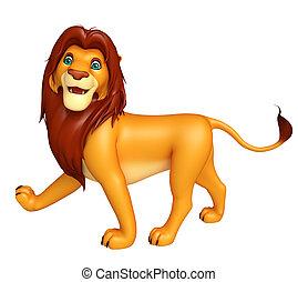 walking Lion cartoon character - 3d rendered illustration of...
