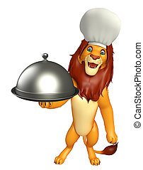 fun Lion cartoon character with chef hat and cloche - 3d...