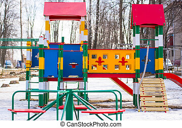 playground in winter - childrens entertainment during the...