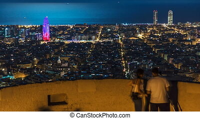 View of Barcelona timelapse, the Mediterranean sea, The...
