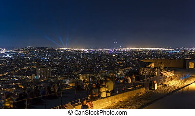 View of Barcelona timelapse, the Mediterranean sea, montjuic...