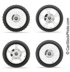 motorcycle wheel tire from the disk set icons vector...