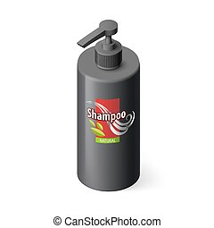 Shampoo Icon - Single Black Bottle of Shampoo with Lable in...
