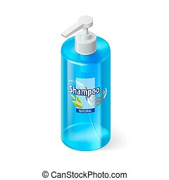 Shampoo Icon - Single Blue Bottle of Shampoo with Lable in...