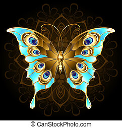 Golden butterfly with turquoise - gold, butterfly jewelry,...