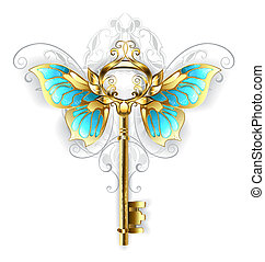 golden key with butterfly wings - Gold Skeleton Key with...