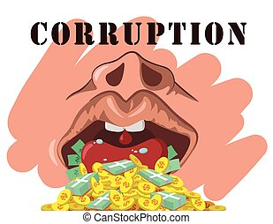 corruption  - illustration corruption on white background