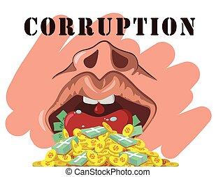 corruption  - illustration corruption on white background