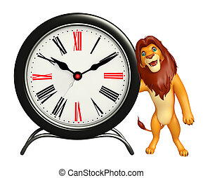 Lion cartoon character with clock - 3d rendered illustration...