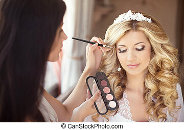 Beautiful bride wedding with makeup and curly hairstyle