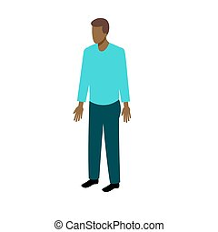 Isometric afro-american man - African-American man in casual...