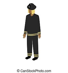 Isometric afro-american firefighter - African-American man...