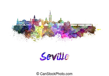 Seville skyline in watercolor splatters with clipping path