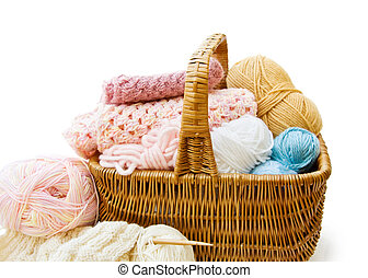 Knitting basket with colorful yarn and needles. Isolated...