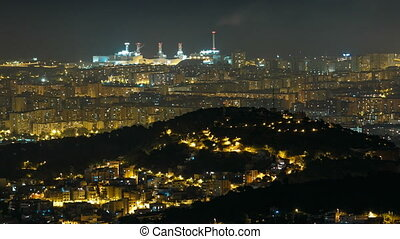 Panorama of Barcelona night timelapse from Mount Tibidabo....
