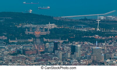 Top view from tibidabo of National Art Museum timelapse at...