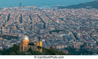 Panorama of Barcelona timelapse from Mount Tibidabo....