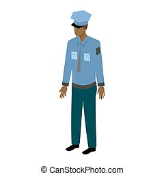Isometric afro-american male officer - African-American man...