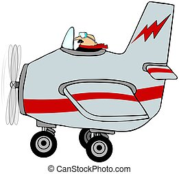 Pilot In An Airplane - This illustration depicts a man...