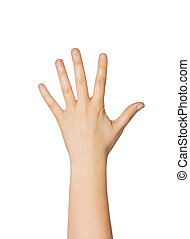 close up of hand showing five fingers - gesture, count and...
