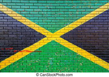 jamaica, bandera, pintado, en, ladrillo, pared,
