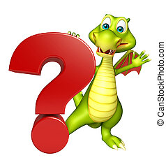 cute Dragon cartoon character Dragon cartoon character with question mark sign