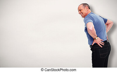 Senior man with a back pain - Senior man with a lower back...
