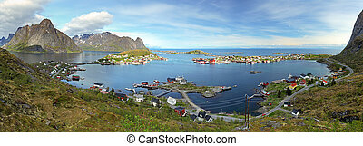 Panorama of village in Norway