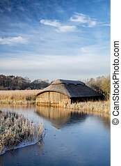 Hickling Boathouse - A wooden boathouse at Hickling Broad on...
