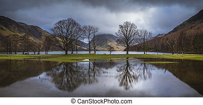 Buttermere Relections - A panoramic image of trees refleted...