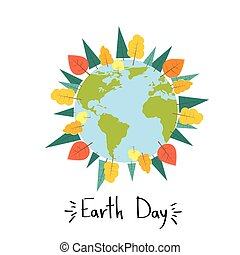 Earth Day World Tree Plant Concept Round Globe Banner