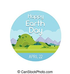 Earth Day Nature Summer Landscape Round Banner