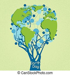 Earth Day Green Tree With Globe World Concept
