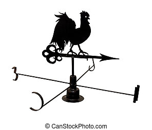 Weather vane - Silhouette of weather vane rooster isolated...
