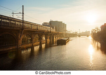 River Spree, Berlin - Berlins River Spree with barge and...