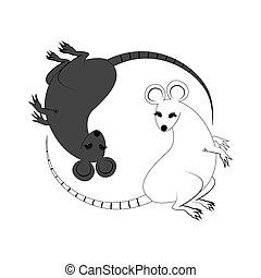 Yin Yang sign icon White and black cute funny cartoon rat...