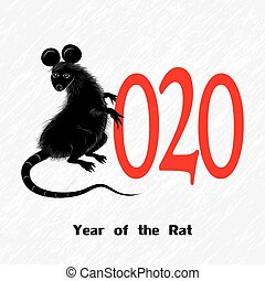 Rat, mouse as symbol for year 2020 by Chinese traditional...